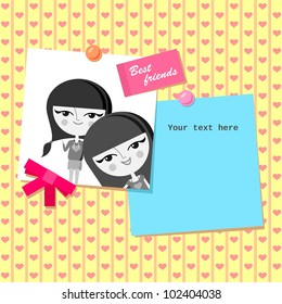 Greeting card design with best friends photo (vector version)