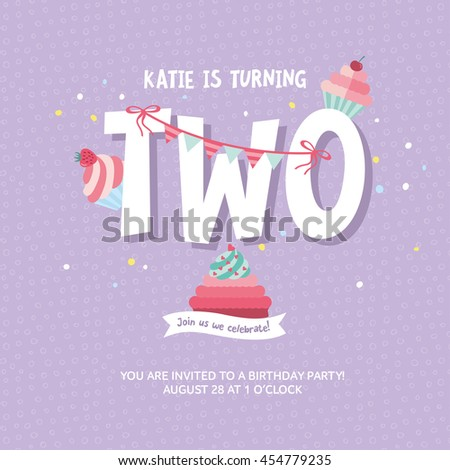 Greeting Card Design With Birthday Cakes Happy Invitation Template For Two Year Old
