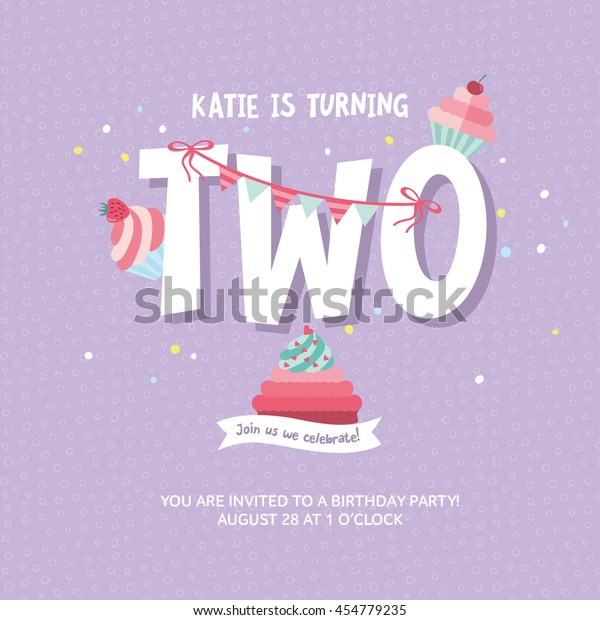 Greeting Card Design Birthday Cakes Happy Stock Vektorgrafik