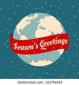 Greeting card design for Christmas with the Earth globe and a red ribbon.