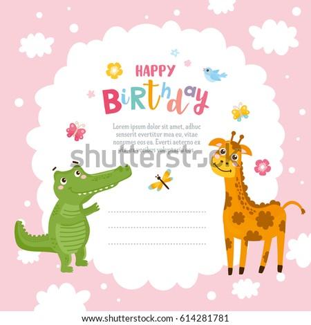Greeting card design cute alligator giraffe stock vector royalty greeting card design with cute alligator and giraffe happy birthday invitation template with funny letter filmwisefo