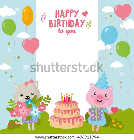Greeting Card Design With Cute Cat And Pig Happy Birthday Invitation Template Balloon