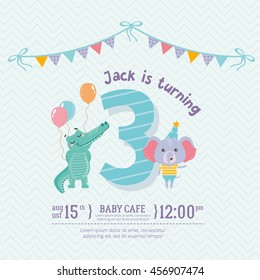 Greeting card design with cute crocodile and elephant. Happy birthday invitation template for three year old with flag and funny letters. For baby birthday, party, invitation.