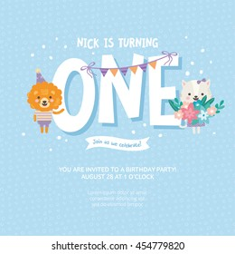 1 Year Old Birthday Invitation Stock Vectors Images