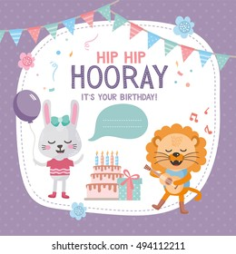 Greeting card design with cute lion and rabbit. Happy birthday invitation template with flag and funny letters. For baby birthday, party, invitation.