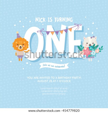 Greeting Card Design With Cute Lion And Cat Happy Birthday Invitation Template For One Year