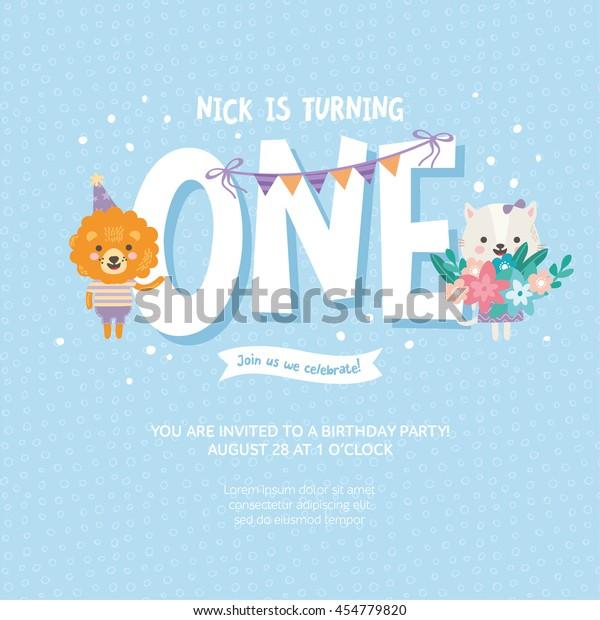 Greeting Card Design Cute Lion Cat Stock Vektorgrafik Lizenzfrei