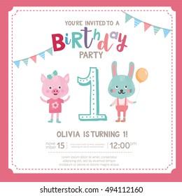 Birthday Invitations 1 Year Old Témájú Képek Stockfotók és