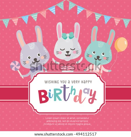 Greeting Card Design With Cute Rabbits Happy Birthday Invitation Template Cartoon Animals And Funny