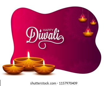 Greeting card design decorated with illuminated oil lamps (Diya) on floral background for Indian Festival, Happy Diwali celebration.