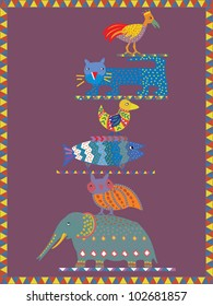 Greeting card design featuring totem design with animals