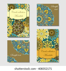 Greeting card design with mandala pattern. Abstract vector template. Indian, arabic, orient motifs in blue, yellow, orange and brown colors. Easy edit