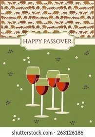 Greeting card design for Passover vector template. Jewish Spring holiday greeting card / poster. Matzo pattern background, four red wine glasses traditional for Passover Seder Table. Layered, editable