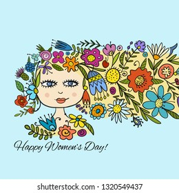Greeting card design with pretty floral woman
