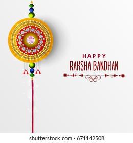 Greeting card design with raksha bandhan text .