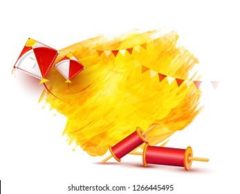 Greeting card design with realistic flying kites and string spools on white background for Makar Sankranti festival.