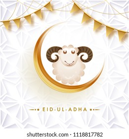 Greeting card design, Sheep on crescent golden moon with golden bunting flags on arabic pattern background, Festival of sacrifice, Eid-Ul-Adha celebration.