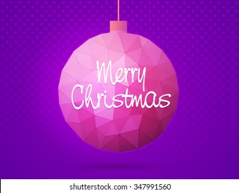 Greeting card design with stylish text Merry Christmas on creative origami Xmas Ball.