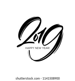 Greeting card design template with calligraphy 2019 New Year hand drawn lettering. Vector illustration EPS10