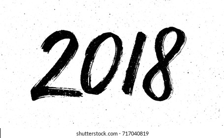 Greeting card design template with chinese calligraphy for 2018 New Year of the Dog. Black number 2018 hand drawn lettering on white vintage subtle grunge background. Vector illustration