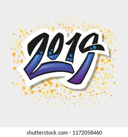Greeting card design template with graffit/ street-art/ lettering/ calligraphy for 2019 New Year of the Pig.Isolated hand drawn letteringon abstract background.Vector illustration for vinter holidays.