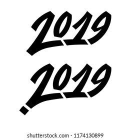 Greeting card design template with graffit/ street-art/ lettering/ calligraphy for 2019 New Year of the Pig. Isolated hand drawn lettering white background. Vector illustration for vinter holidays.