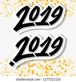 Greeting card design template with graffit/ street-art/ lettering/calligraphy for 2019 New Year of the Pig. Isolated hand drawn text on abstract background. Vector illustration for winter  holidays.