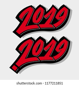 Greeting card design template with graffit/ street-art/ lettering/calligraphy for 2019 New Year of the Pig. Isolated hand drawn red text on gray background. Vector illustration for vinter holidays.