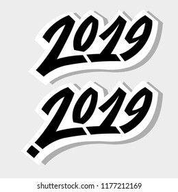 Greeting card design template with graffit/ street-art/ lettering/calligraphy for 2019 New Year of the Pig. Isolated hand drawn black text on gray background. Vector illustration for vinter holidays.