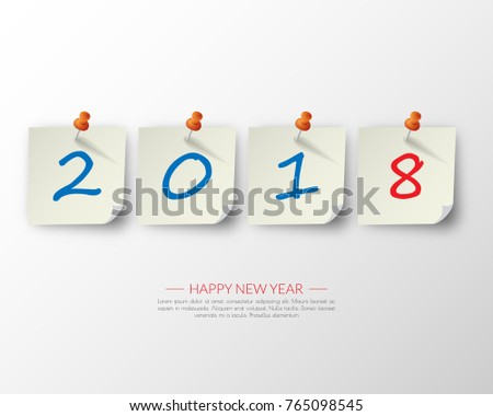 greeting card design template with modern text for 2018 new year of the dog color