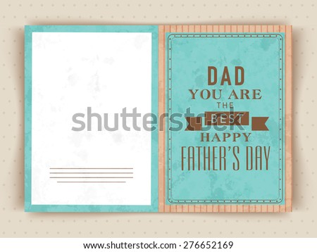 Greeting Card Design With Text Dad You Are The Best For Fathers Day Celebrations