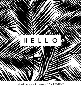 "Greeting card design with text ""Hello"" on palm leaves background in black and white."
