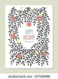 Greeting card design with tree branches, apple and pomegranate. Hand drawing vector illustration
