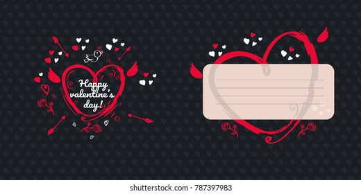 Greeting card design for valentines day. Dark version. Double side greeting card with place for message. Red bright hand drawn heart with Cupid wings and arrows on dark background with little hearts.
