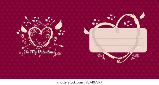 Greeting card design for valentines day. Red version. Double side greeting card with place for message. Red bright hand drawn heart with Cupid wings and arrows on red background with little hearts.