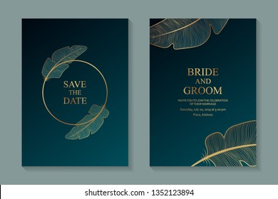 Greeting card design, wedding invitations, rsvp or template for writers competition diploma with golden frame and feathers on a dark turquoise background.