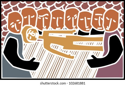 Greeting card design in a woodcut style featuring religious theme