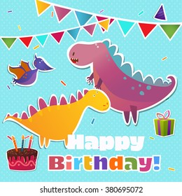 Greeting card with Dinosaurs, vector illustration