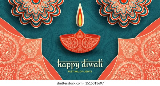 Greeting card for Diwali festival celebration in India