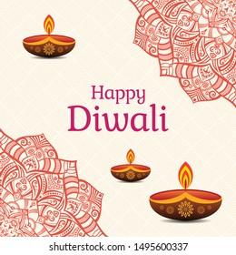 Greeting card for Diwali festival with Diwali elements, diwali oil lamps. Diwali or Deepavali celebration day. Festival of lights. Vector color illustration.