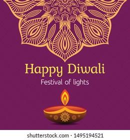 Greeting card for Diwali festival with diwali oil lamp and mandala. Diwali or Deepavali celebration day. Festival of lights. Vector color illustration.