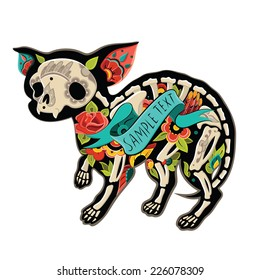 Greeting card with dog chihuahua, skeletons with floral patterns. Colorfull chihuahua. Vector illustration