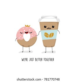 Greeting card with donuts and coffee cup, Valentines day, BFF, vector illustration