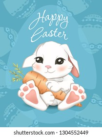 Greeting card with Easter Bunny Egg hunt in vector. Funny bunny in vintage style. Easter. Happy easter lettering with cute Hare children illustration.