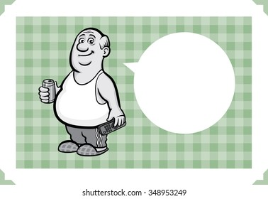 Greeting card with fat senior man - just add your text