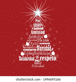 Greeting card of Feliz Navidad - Merry Christmas in Spanish language. White words forming a Christmas tree with a bright star on the tip on a red background with white stars. Word Cloud design.