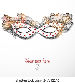 Greeting card with festive venetian mask decorated with little red hearts. Vector illustration