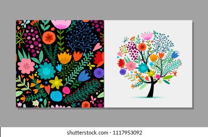 Greeting card with floral tree, summer colors. Sketch for your design