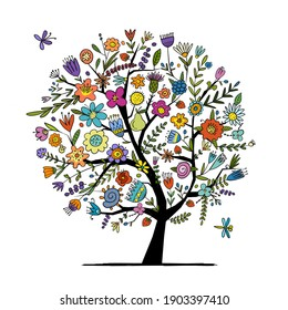 Greeting card with floral tree for your design. Vector illustration
