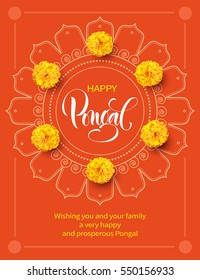 Greeting card with flowers and rangoli for traditional Indian festival Pongal. Makar Sankranti background. Vector illustration.